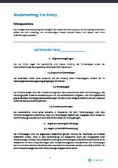 Deckblatt Car Policy Mustervertrag