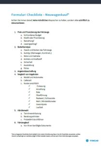 die Checkliste zum Neuwagenkauf