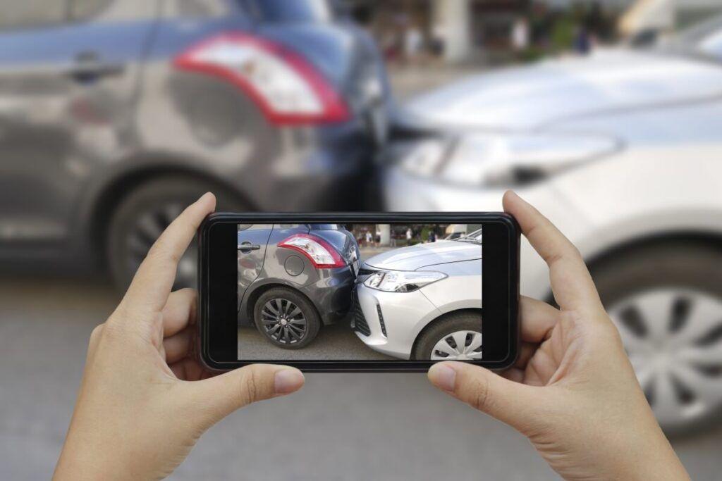 Foto wird von Unfall aufgenommen