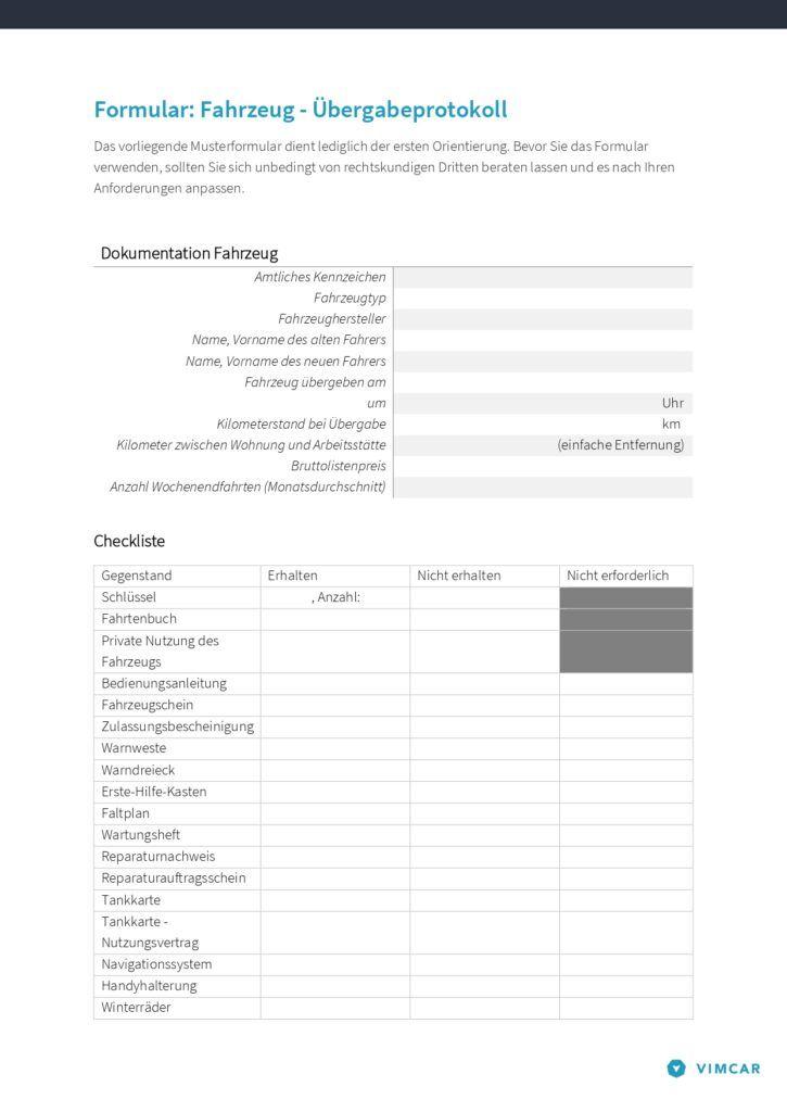 Formular Fahrzeug-Übergabeprotokoll