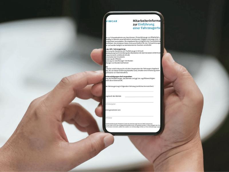 Mitarbeiterinformation Einführung Fahrzeugortung Screenshot Smartphone