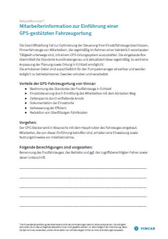 Mitarbeiterblatt zur Einführung einer Fahrzeugortung