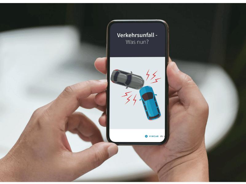 Smartphone zeigt das eBook Verkehrunsfall