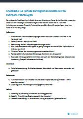 UVV Prüfung Pkw Checkliste