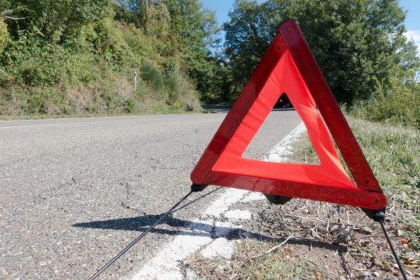 Warndreieck am Unfallort
