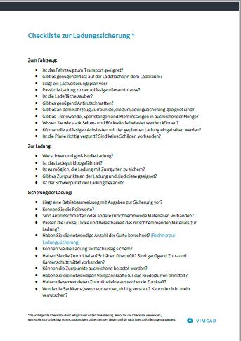 die Checkliste zur Ladungssicherung