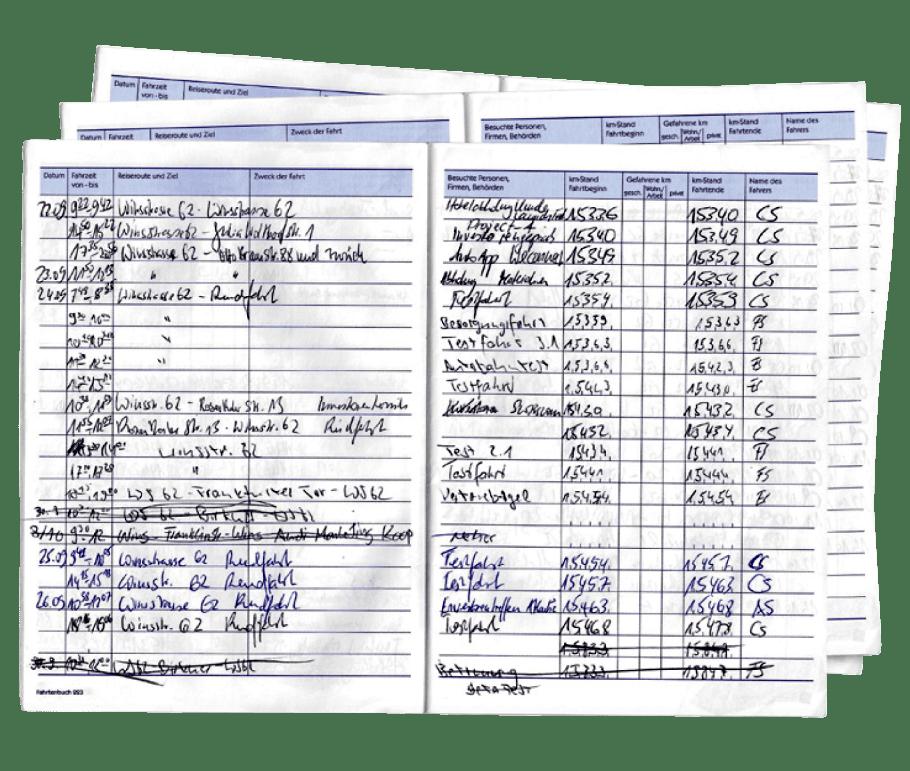 ein handschriftliches Fahrtenbuch