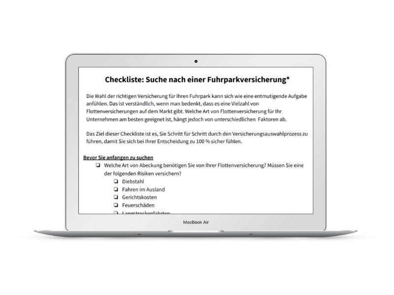 Checkliste Fuhrparkversicherung