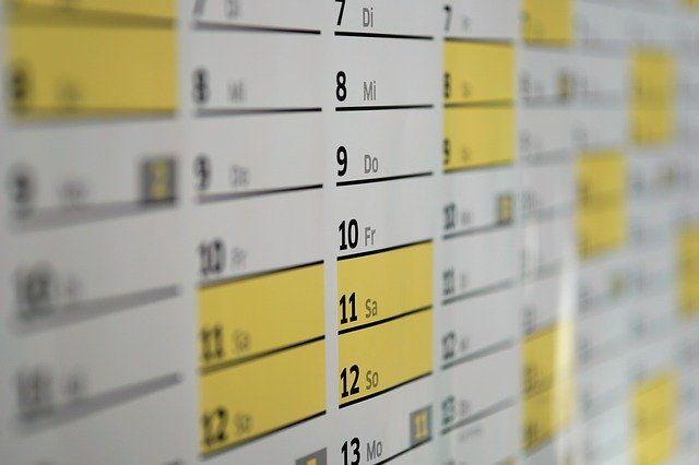Kalender für Festhalten der Termine im Fuhrpark