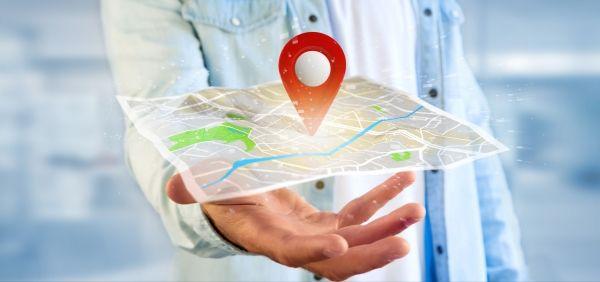 Landkarte mit Markierung