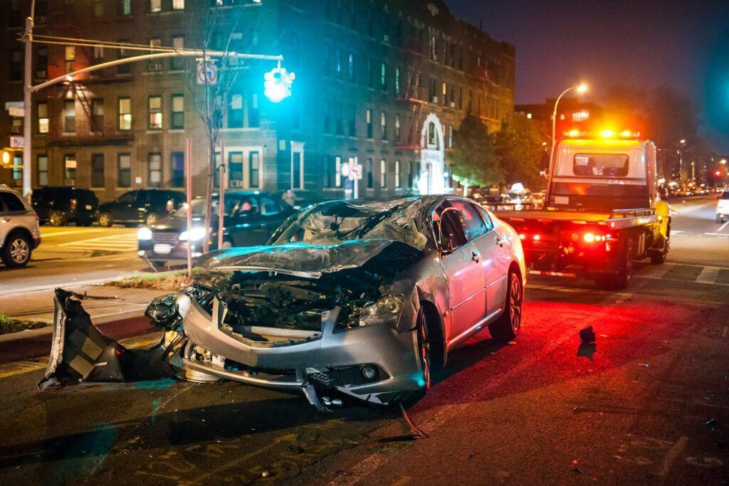 Unfallwagen am Unfallort