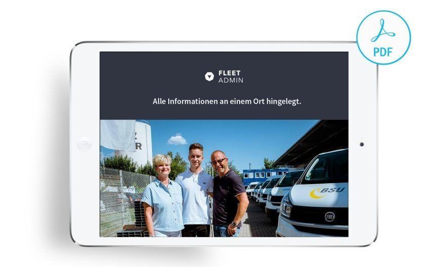 Fleet Admin Broschüre auf Tablet