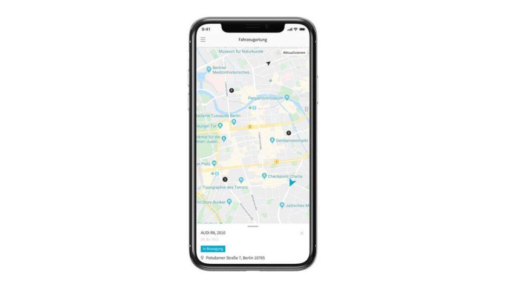 Tracking Software auf Smartphone geöffnet