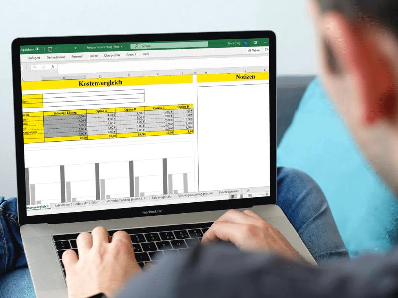 Fuhrpark Controlling Excel Vorlage auf Laptop geöffnet