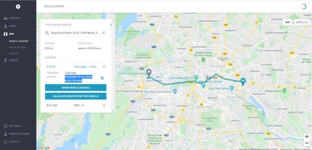 GPS Ortungssystem mit Fahrzeugortung