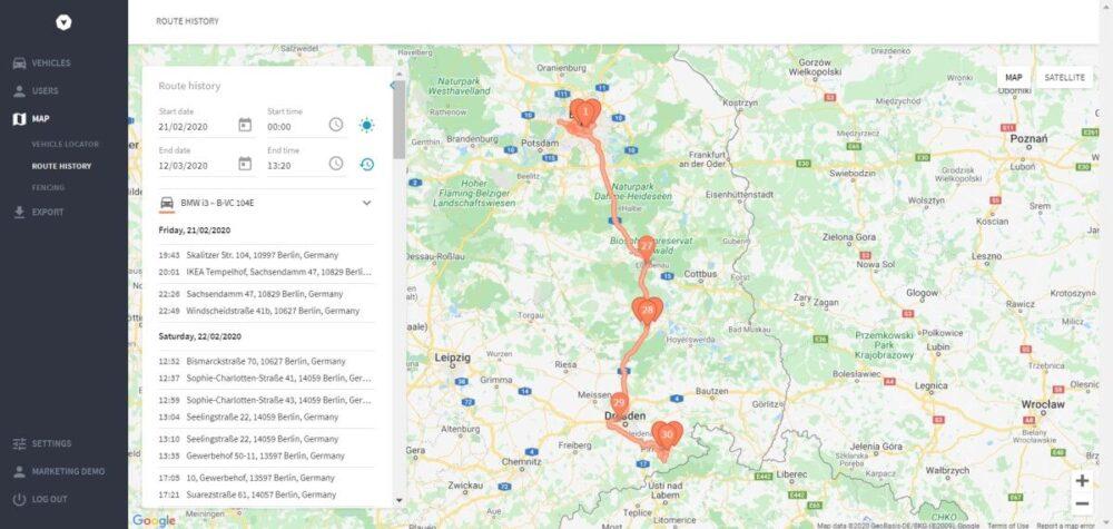 Telematiksystem mit Routenplanung