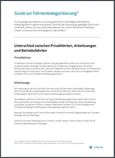 Deckblatt Ratgeber zur Fahrtenkategorisierung