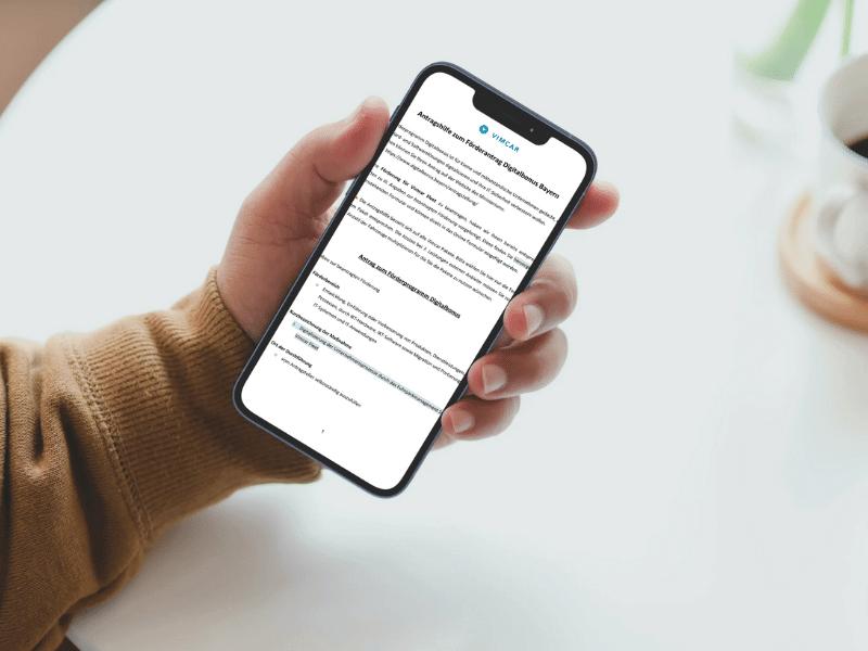 Digitalbonus Bayern Ausfüllhilfe auf Smartphone geöffnet