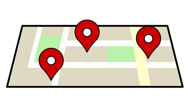 Stadtplan mit Pins