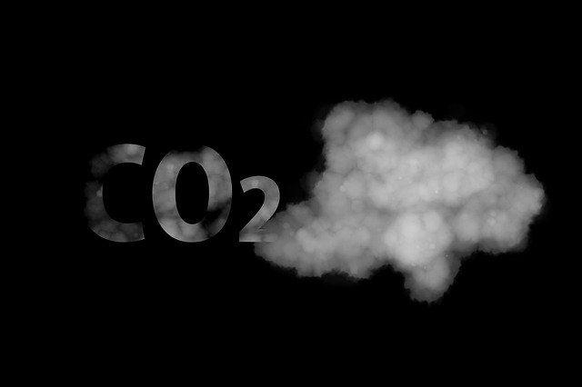 Der Begriff CO2 löst sich in einer Wolke auf.