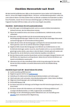 Abgebildet ist ein Ausschnitt der Checkliste zum Warenverkehr.