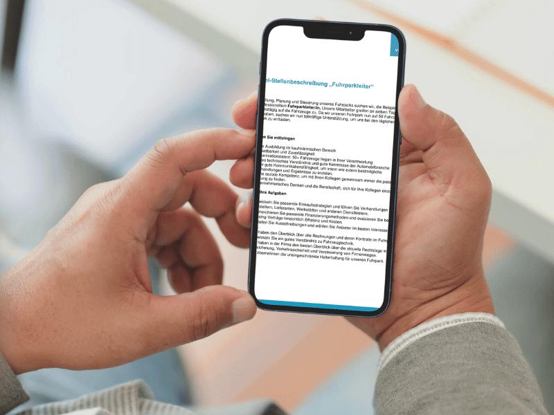 Stellenbeschreibung auf Smartphone geöffnet