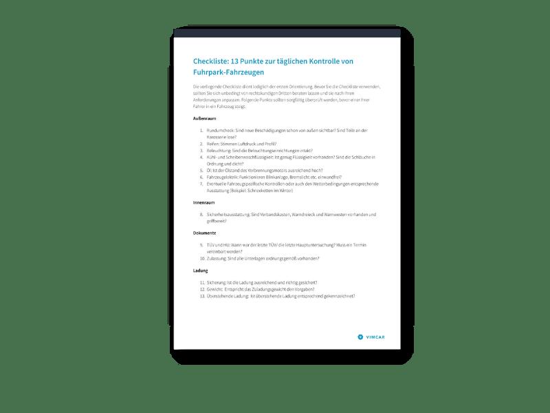 Checkliste Fahrzeugkontrolle